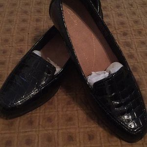 Black patent Clarks loafers, size 9